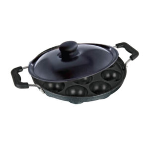 Appam Patra 12 Cavity with Handle & Coloured Lid