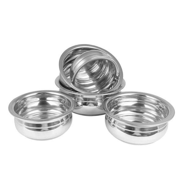 Stainless Steel Ribbed Flat Induction Bottom Handi Set of 5pcs