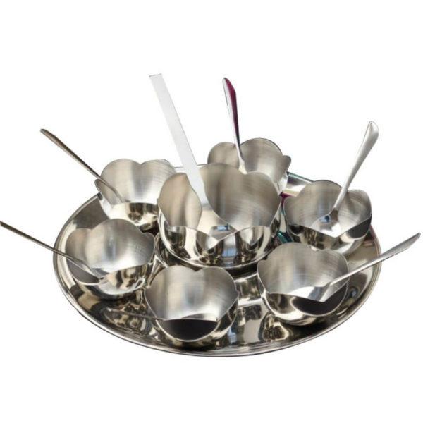 Nakshatra Stainless Steel Flower Serving Set 15pcs