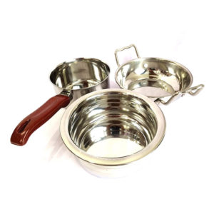 Stainless Steel Flat Induction Bottom Cook and Serve Set of 3pcs