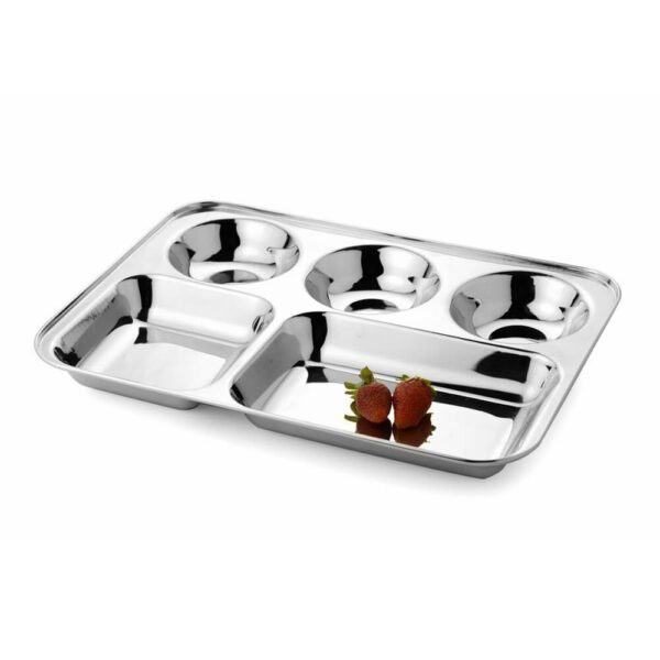 Nakshatra Stainless Steel 5-in-1 Round Watti Plate Tray, Five Compartment Divided Dinner Plate Sectioned Plate Silver