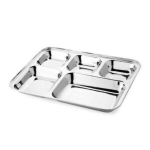 Nakshatra Stainless Steel 5-in-1 Square Watti Plate Tray, Five Compartment Divided Dinner Plate Sectioned Plate Silver
