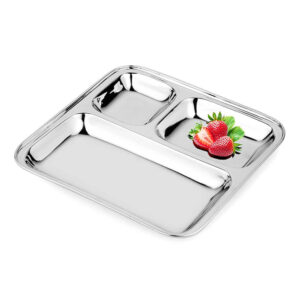 Nakshatra Stainless Steel 3 in 1 Square Pav Bhaji Plate Tray, Three Compartment Dinner Plate Sectioned Plate