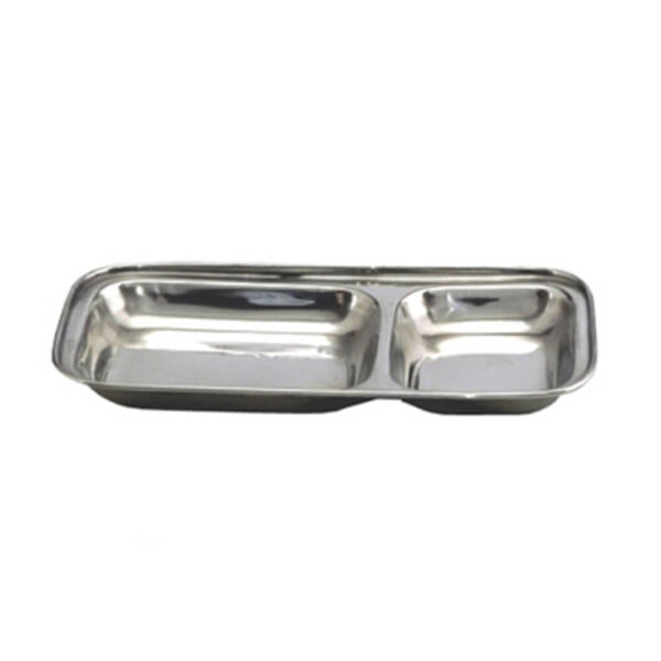 Nakshatra Stainless Steel 2 in 1 Pav Bhaji Plate Tray, Two Compartment Dinner Plate Sectioned Plate