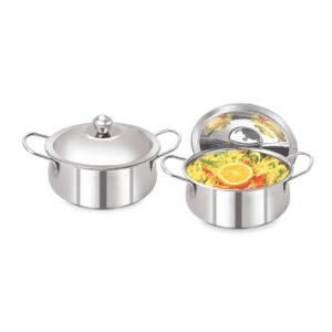 Nakshatra Stainless Steel Cook and Serve Pot Set of 2 PCS