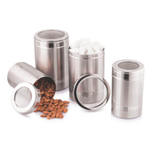 Nakshatra Stainless Steel High Quality Set Of 4 PCS Canisters For Kitchen Storage