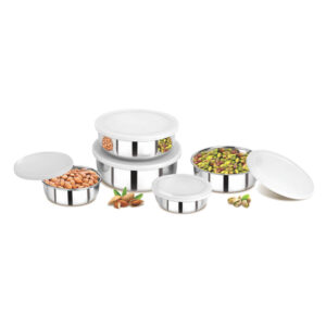 Nakshatra Stainless Steel Bowls With Plastic Lid