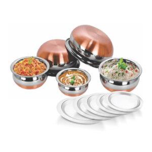 Nakshatra Stainless Steel 10 Pcs Copper Bottom Handi Set