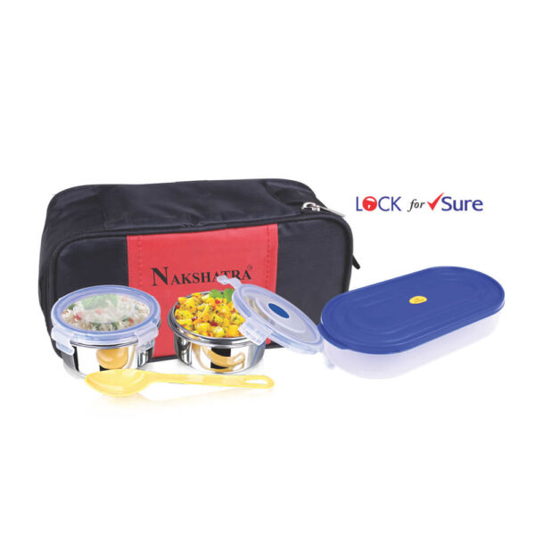 Nakshatra High Quality Stainless Steel Inner Food Grade LOCK FOR SURE Lunch Container Tifin
