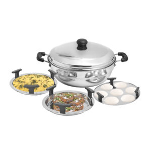 Nakshatra Stainless Steel Induction Base Multi Mini Kadai 3 in 1 With Stainless Steel Lid
